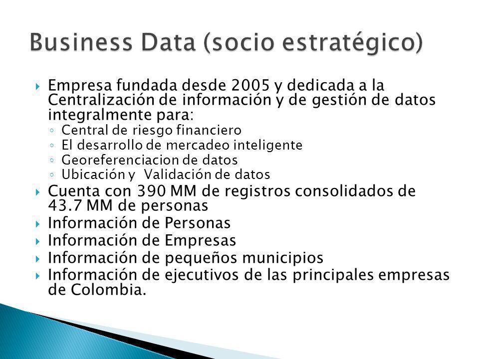 Empresa fundada desde 2005 y dedicada a la Centralización de información y de gestión de datos integralmente para: Central de riesgo financiero El des