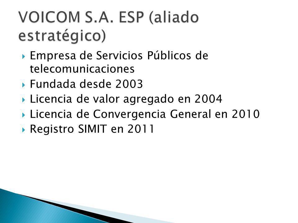 Empresa de Servicios Públicos de telecomunicaciones Fundada desde 2003 Licencia de valor agregado en 2004 Licencia de Convergencia General en 2010 Registro SIMIT en 2011