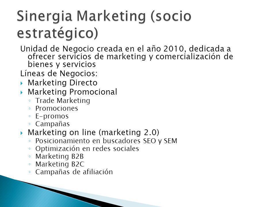 Unidad de Negocio creada en el año 2010, dedicada a ofrecer servicios de marketing y comercialización de bienes y servicios Líneas de Negocios: Market