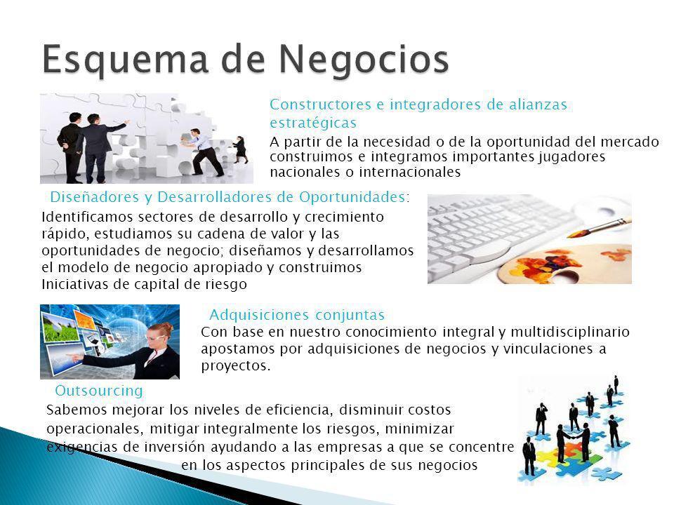 Constructores e integradores de alianzas estratégicas A partir de la necesidad o de la oportunidad del mercado construimos e integramos importantes ju