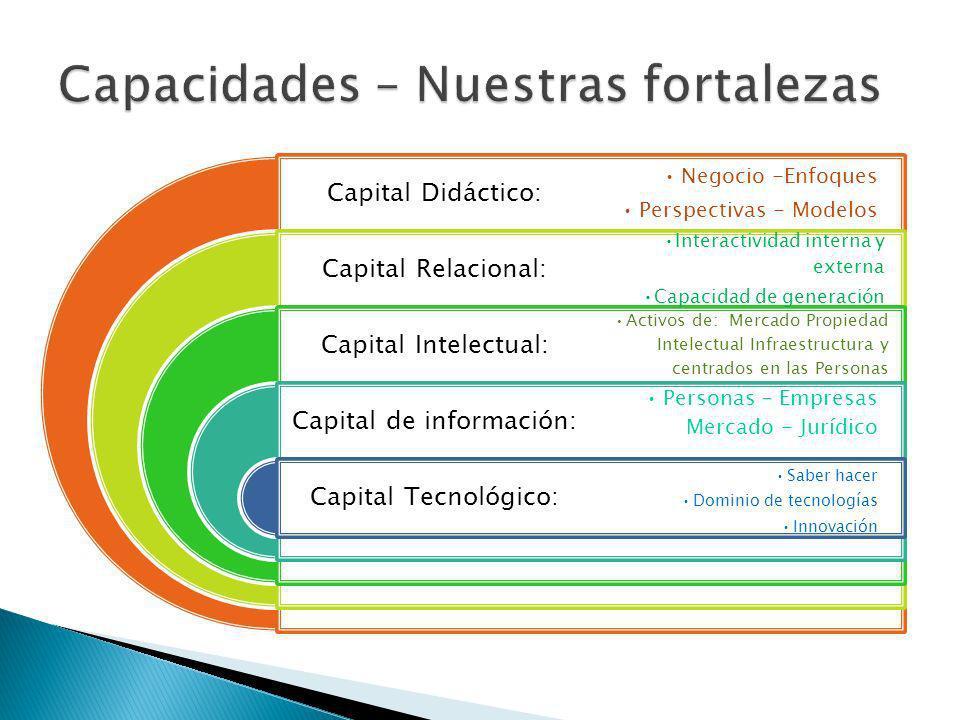 Capital Didáctico: Capital Relacional: Capital Intelectual: Capital de información: Capital Tecnológico: Negocio -Enfoques Perspectivas - Modelos Interactividad interna y externa Capacidad de generación Activos de: Mercado Propiedad Intelectual Infraestructura y centrados en las Personas Personas – Empresas Mercado - Jurídico Saber hacer Dominio de tecnologías Innovación
