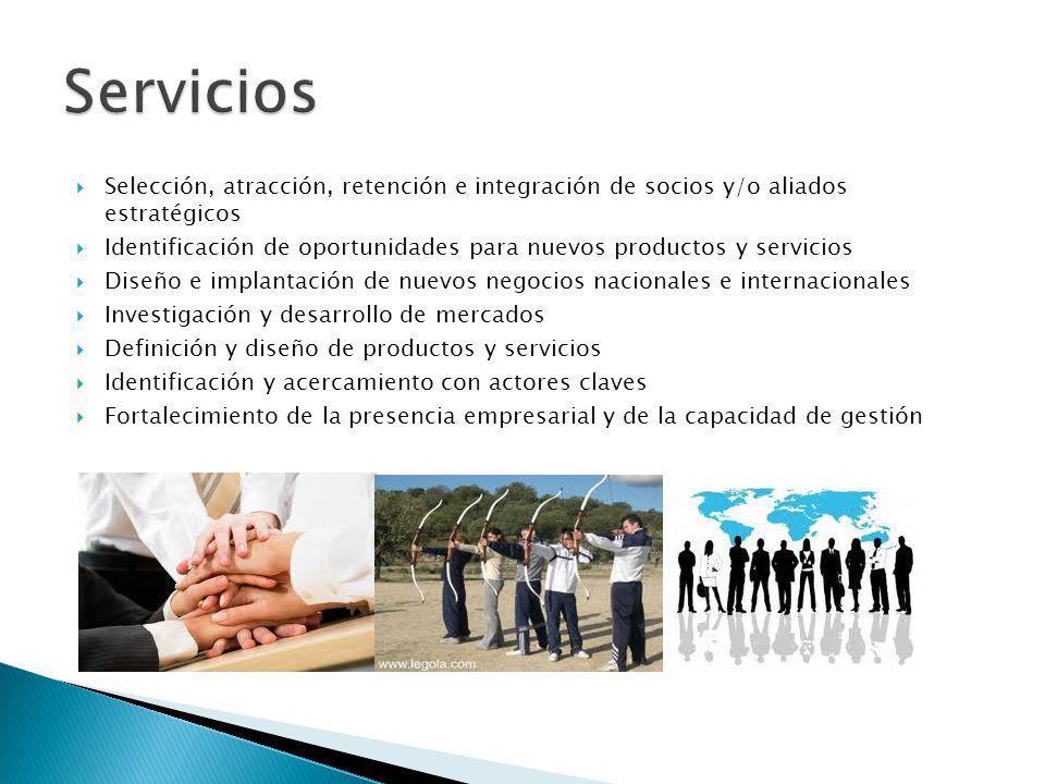 Selección, atracción, retención e integración de socios y/o aliados estratégicos Identificación de oportunidades para nuevos productos y servicios Dis