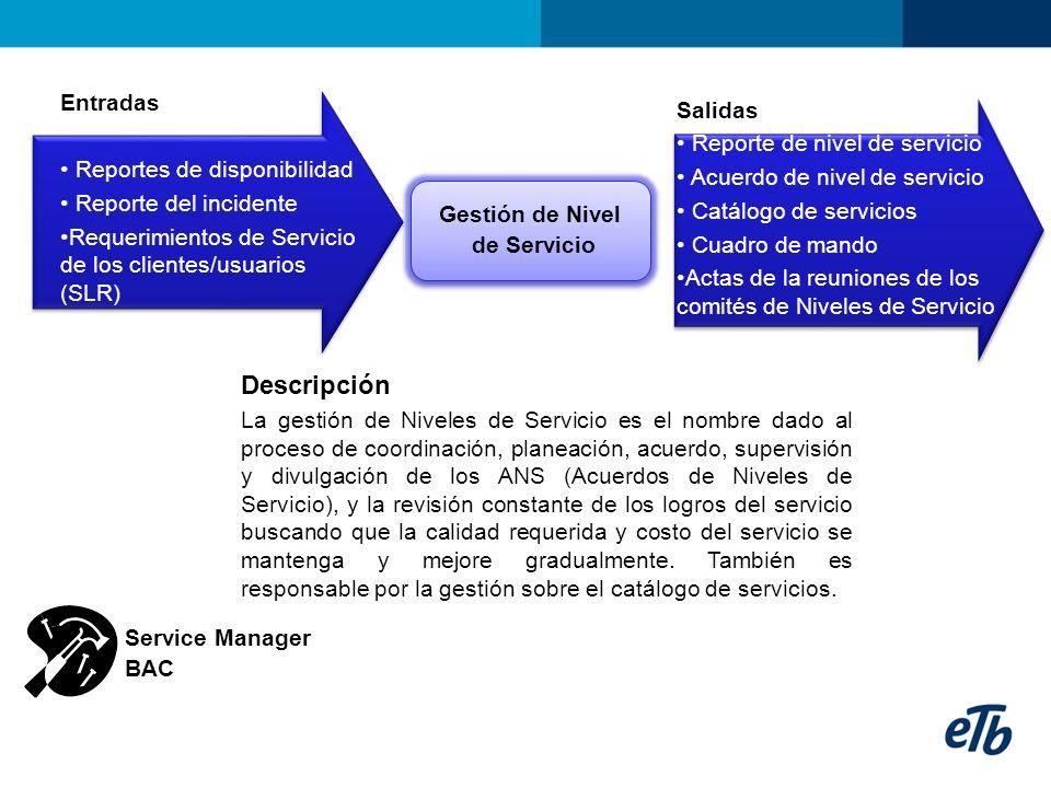 Entradas Reportes de disponibilidad Reporte del incidente Requerimientos de Servicio de los clientes/usuarios (SLR) Gestión de Nivel de Servicio Gesti