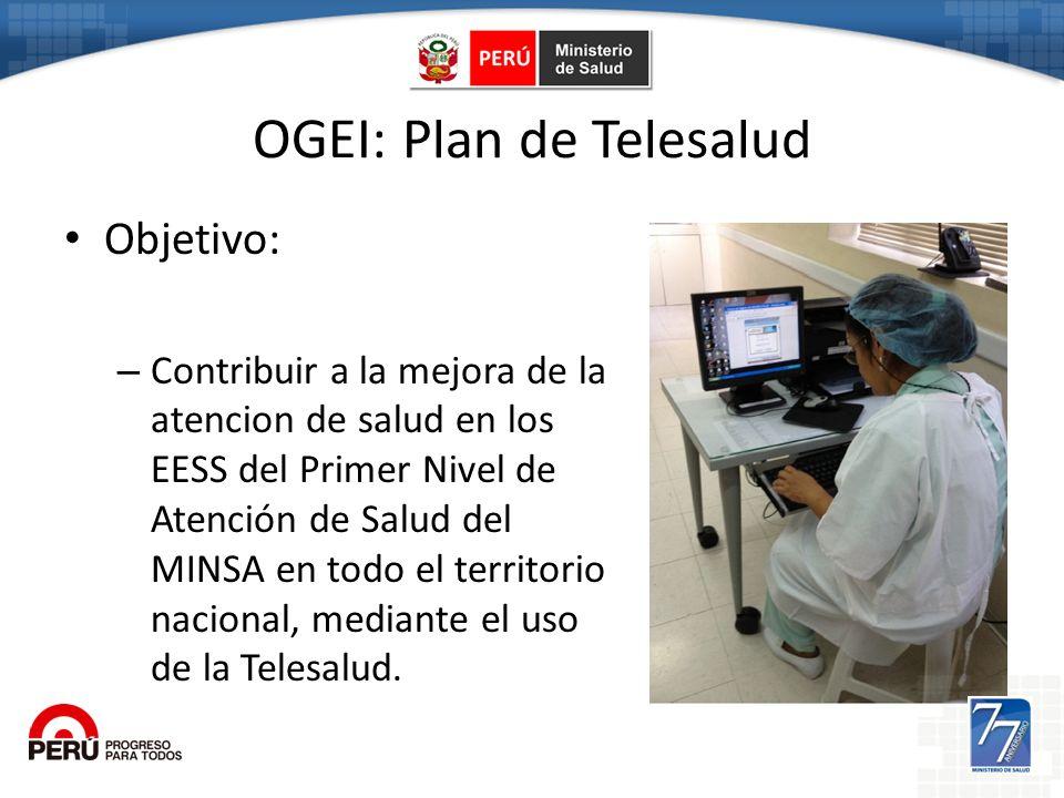 Ogei OGEI: Plan de Telesalud Objetivo: – Contribuir a la mejora de la atencion de salud en los EESS del Primer Nivel de Atención de Salud del MINSA en