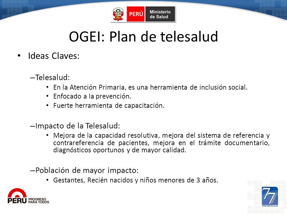 Ogei OGEI: Plan de telesalud Ideas Claves: – Telesalud: En la Atención Primaria, es una herramienta de inclusión social. Enfocado a la prevención. Fue