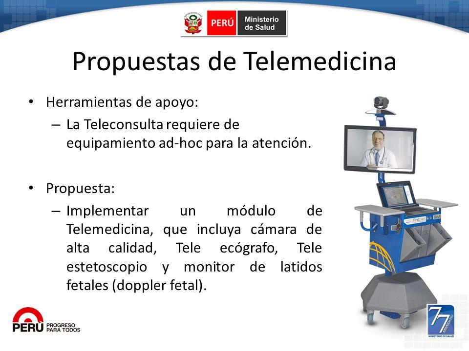Propuestas de Telemedicina Herramientas de apoyo: – La Teleconsulta requiere de equipamiento ad-hoc para la atención. Propuesta: – Implementar un módu