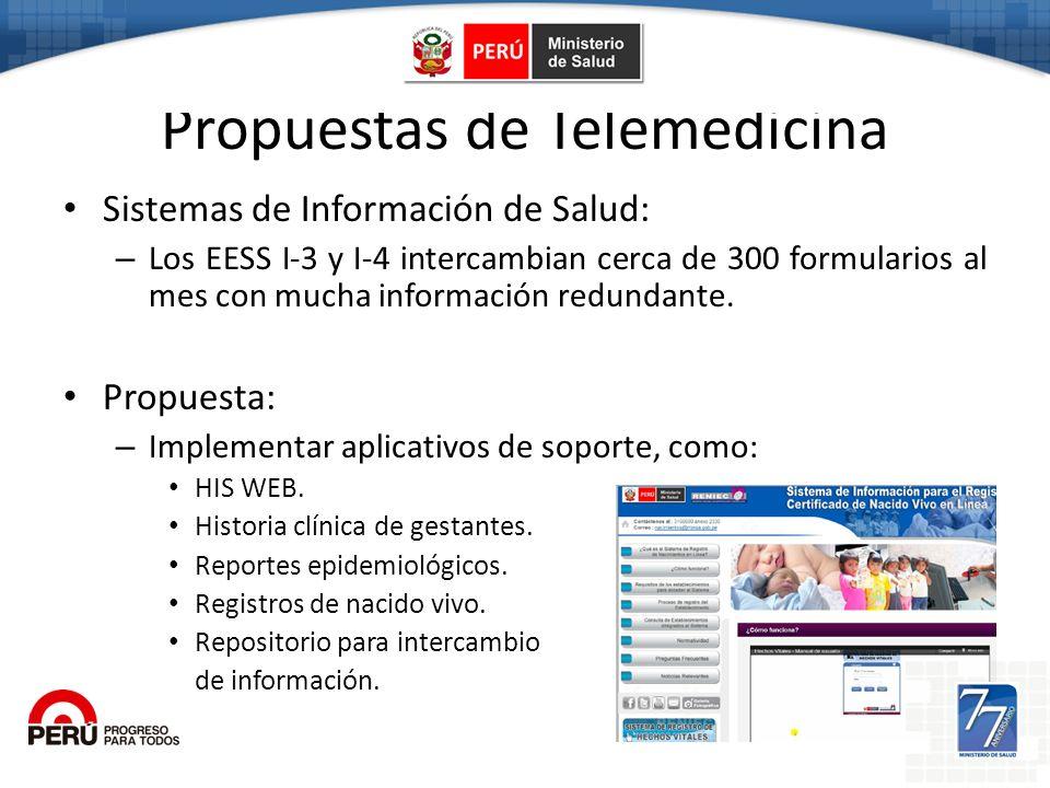 Propuestas de Telemedicina Sistemas de Información de Salud: – Los EESS I-3 y I-4 intercambian cerca de 300 formularios al mes con mucha información r