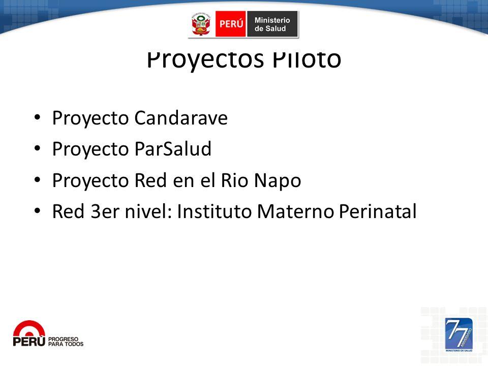 Proyectos Piloto Proyecto Candarave Proyecto ParSalud Proyecto Red en el Rio Napo Red 3er nivel: Instituto Materno Perinatal