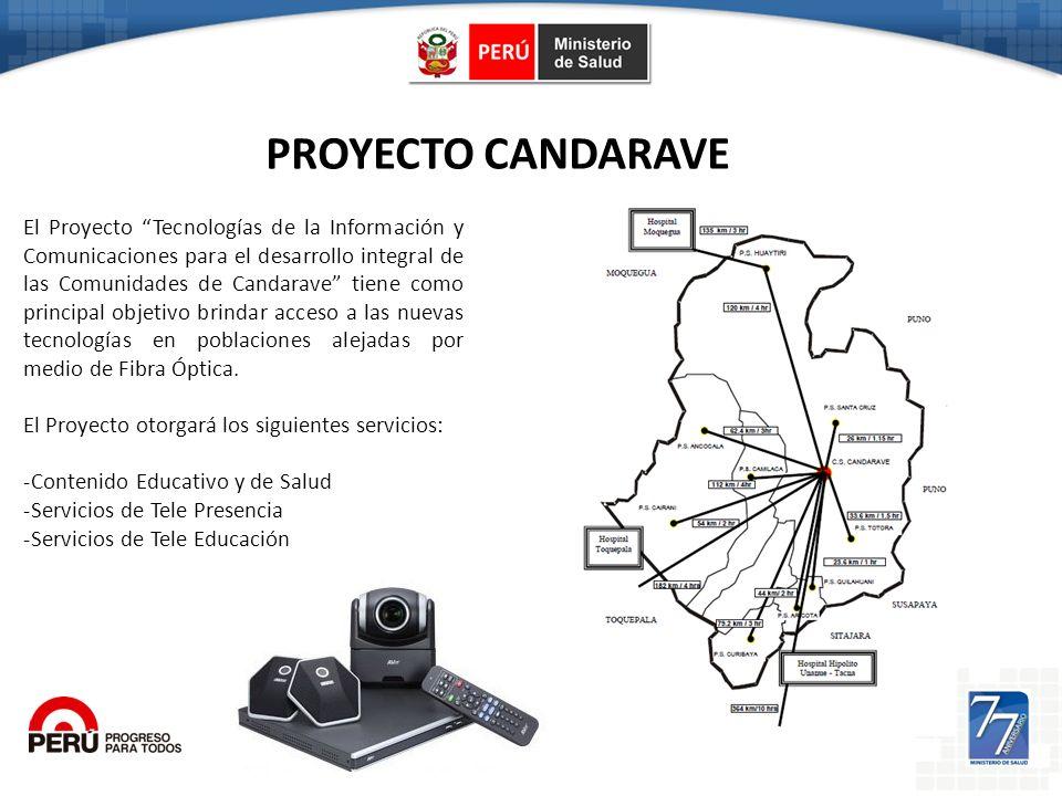 PROYECTO CANDARAVE El Proyecto Tecnologías de la Información y Comunicaciones para el desarrollo integral de las Comunidades de Candarave tiene como p