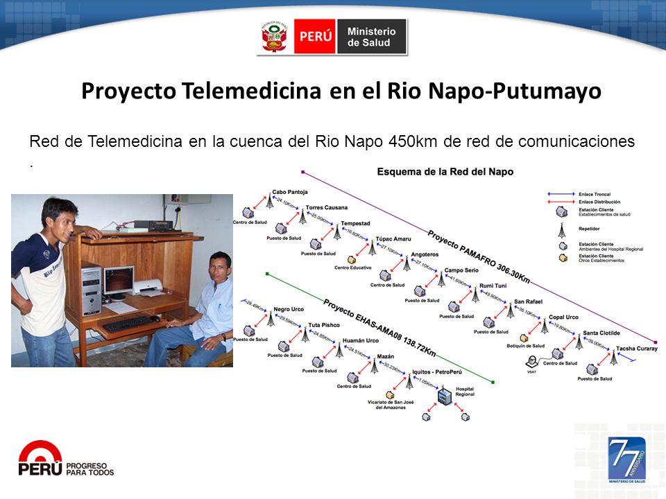 Proyecto Telemedicina en el Rio Napo-Putumayo Red de Telemedicina en la cuenca del Rio Napo 450km de red de comunicaciones.