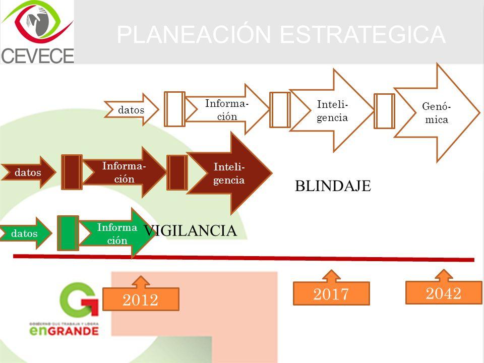 PLANEACIÓN ESTRATEGICA 2012 2017 2042 datos Informa ción datos Informa- ción Inteli- gencia datos Informa- ción Inteli- gencia Genó- mica BLINDAJE VIG