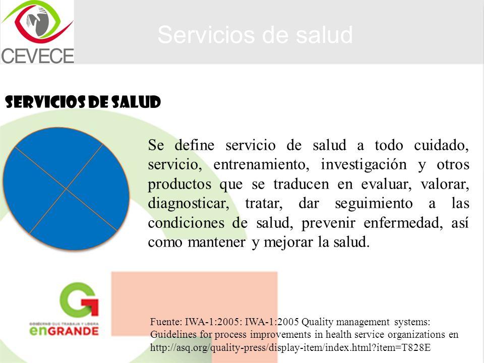 SERVICIOS DE SALUD Servicios de salud Se define servicio de salud a todo cuidado, servicio, entrenamiento, investigación y otros productos que se trad