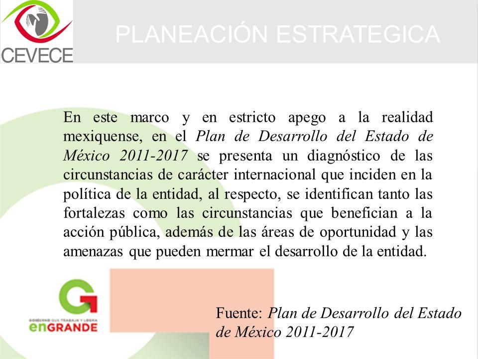 En este marco y en estricto apego a la realidad mexiquense, en el Plan de Desarrollo del Estado de México 2011-2017 se presenta un diagnóstico de las