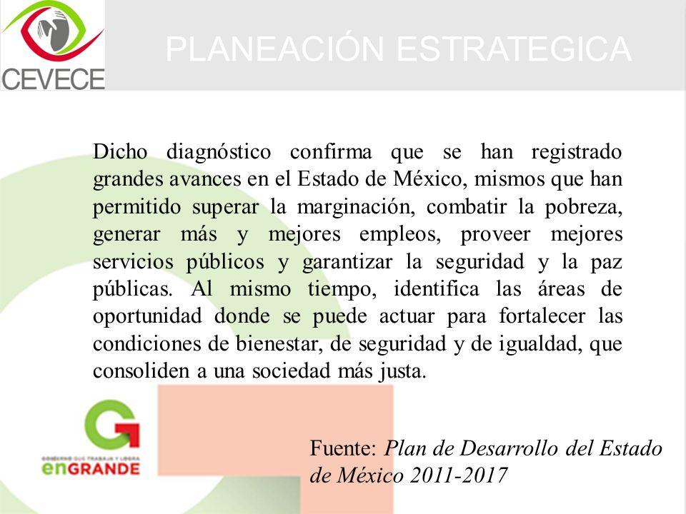 Dicho diagnóstico confirma que se han registrado grandes avances en el Estado de México, mismos que han permitido superar la marginación, combatir la