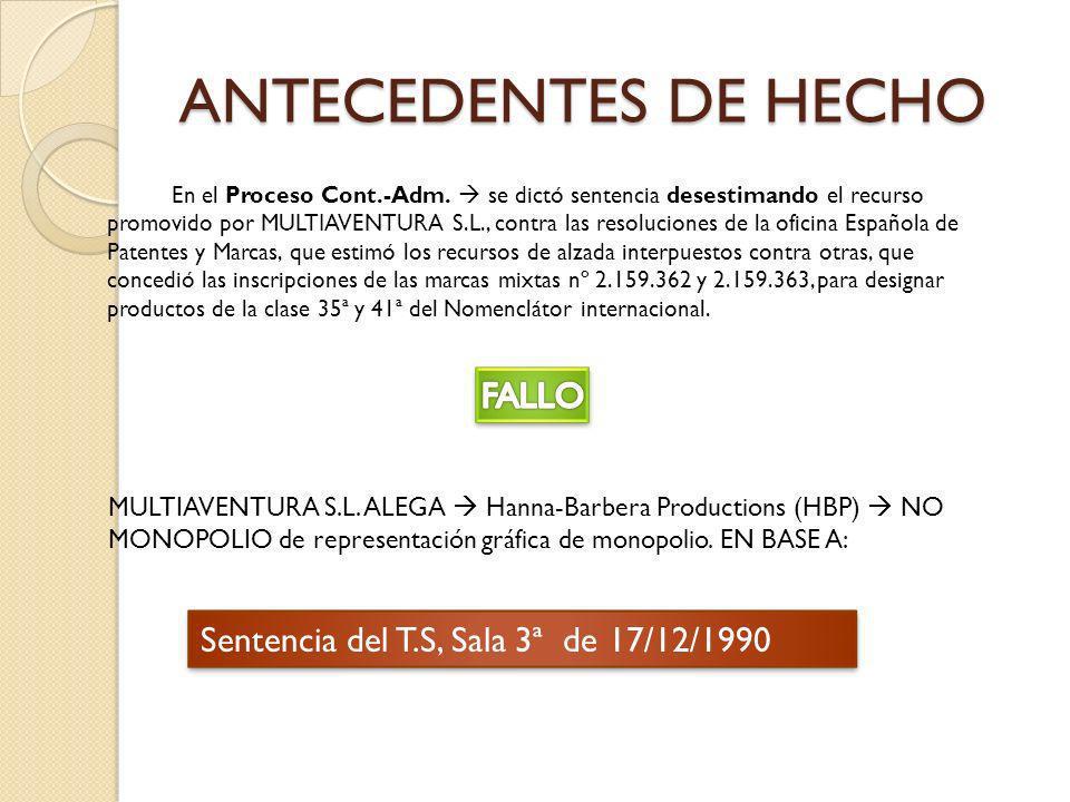ANTECEDENTES DE HECHO En el Proceso Cont.-Adm.