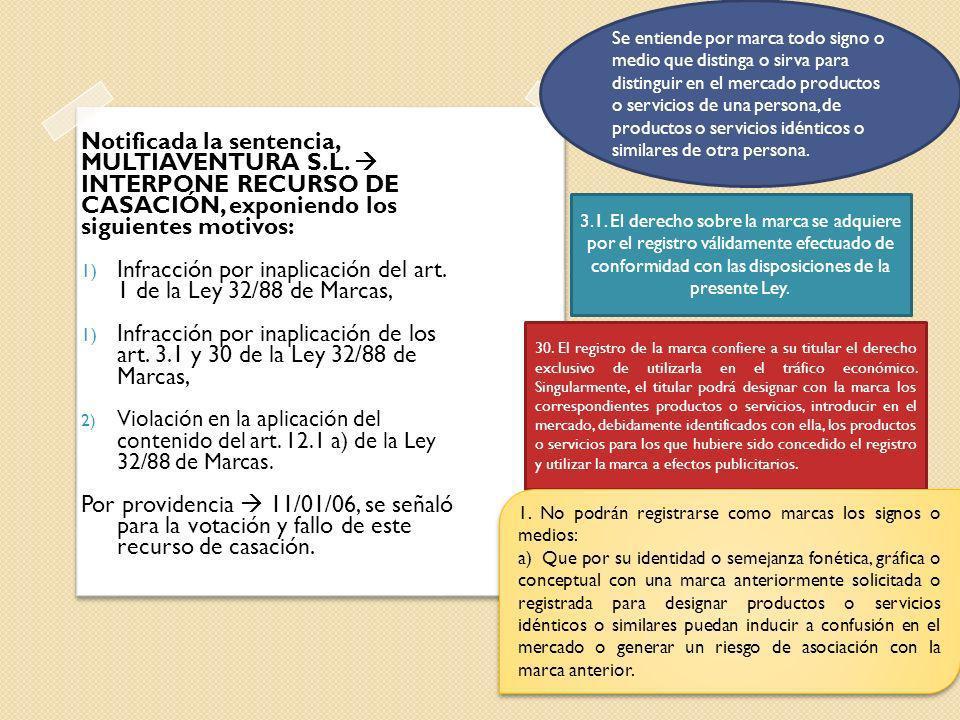 Notificada la sentencia, MULTIAVENTURA S.L. INTERPONE RECURSO DE CASACIÓN, exponiendo los siguientes motivos: 1) Infracción por inaplicación del art.