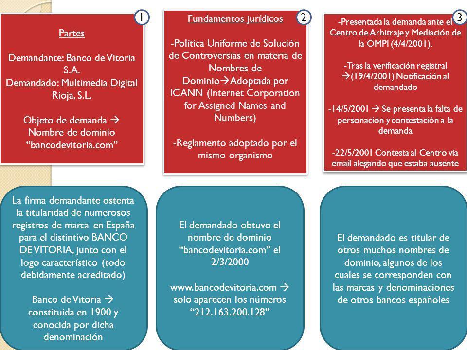Partes Demandante: Banco de Vitoria S.A. Demandado: Multimedia Digital Rioja, S.L. Objeto de demanda Nombre de dominio bancodevitoria.com Partes Deman