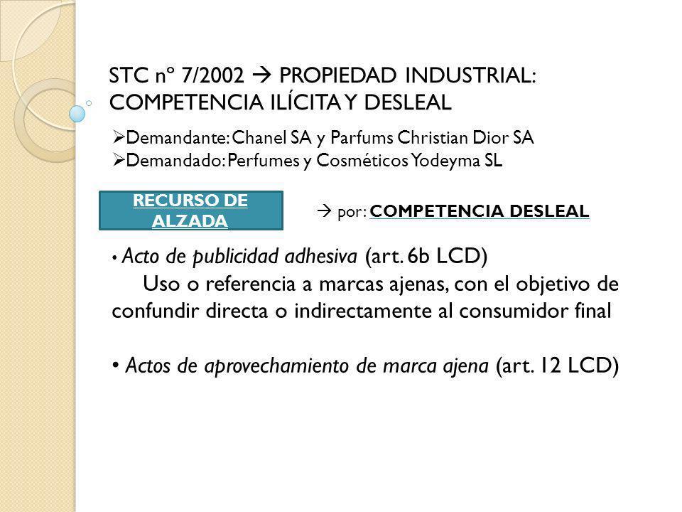 STC nº 7/2002 PROPIEDAD INDUSTRIAL: COMPETENCIA ILÍCITA Y DESLEAL Demandante: Chanel SA y Parfums Christian Dior SA Demandado: Perfumes y Cosméticos Y