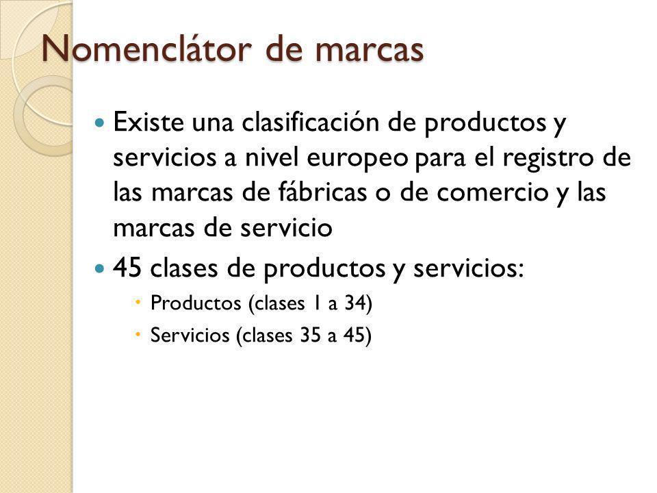Nomenclátor de marcas Existe una clasificación de productos y servicios a nivel europeo para el registro de las marcas de fábricas o de comercio y las marcas de servicio 45 clases de productos y servicios: Productos (clases 1 a 34) Servicios (clases 35 a 45)