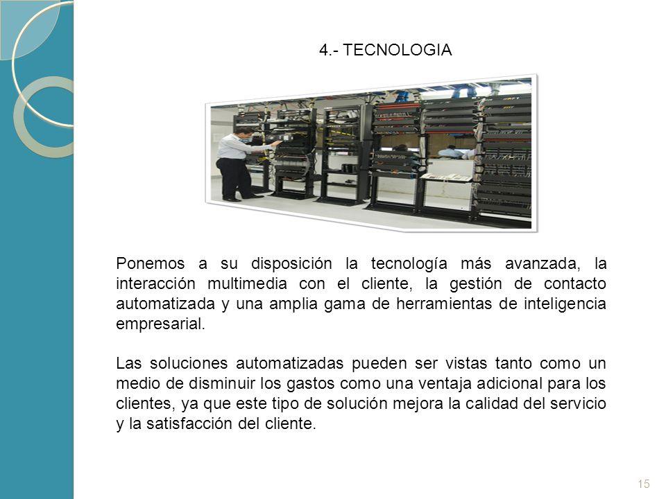 15 4.- TECNOLOGIA Ponemos a su disposición la tecnología más avanzada, la interacción multimedia con el cliente, la gestión de contacto automatizada y