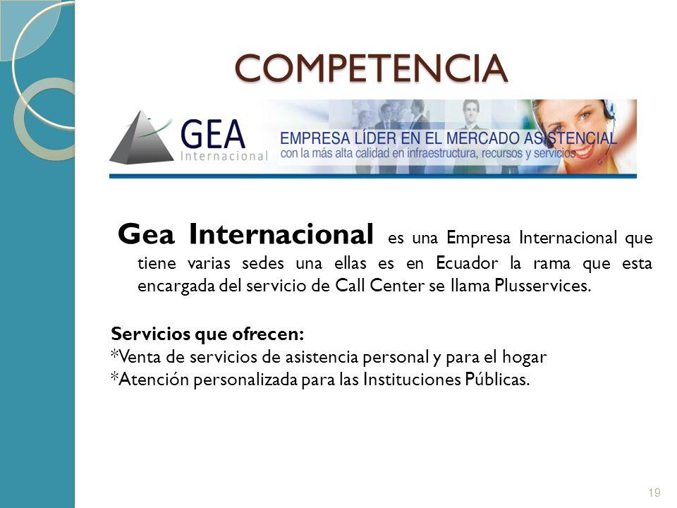 COMPETENCIA Gea Internacional es una Empresa Internacional que tiene varias sedes una ellas es en Ecuador la rama que esta encargada del servicio de C