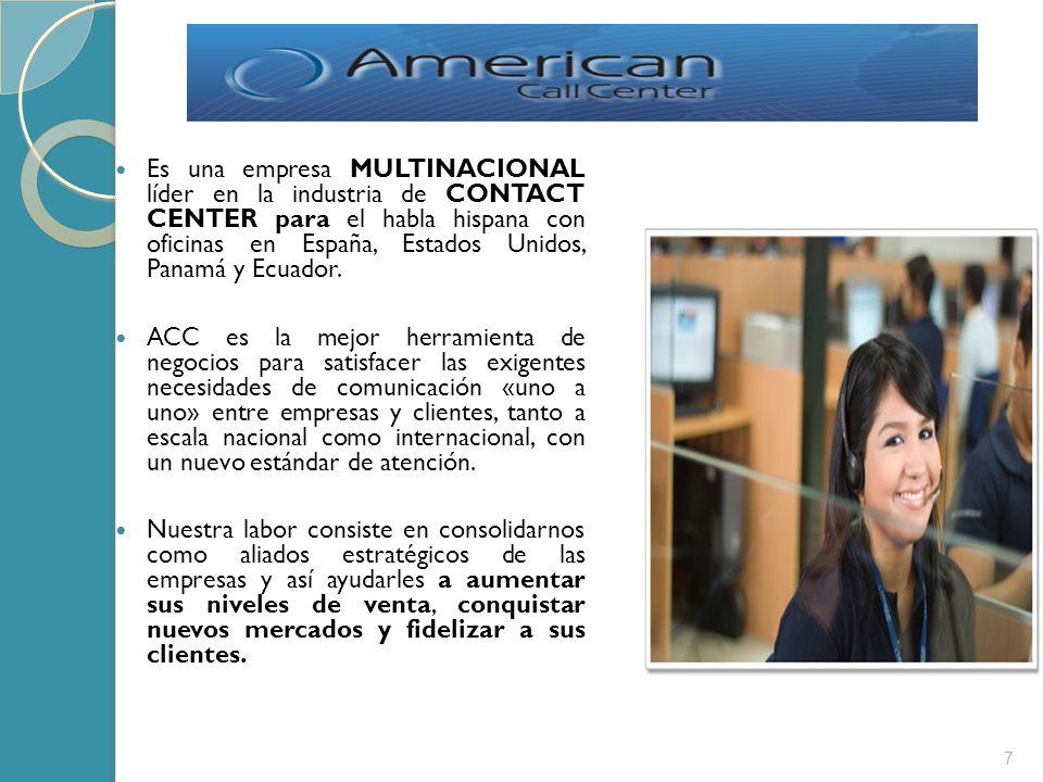 Es una empresa MULTINACIONAL líder en la industria de CONTACT CENTER para el habla hispana con oficinas en España, Estados Unidos, Panamá y Ecuador. A