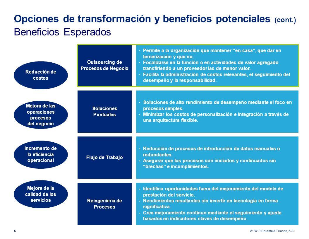 © 2010 Deloitte & Touche, S.A. Opciones de transformación y beneficios potenciales (cont.) Beneficios Esperados 5 Reducción de costos Mejora de las op