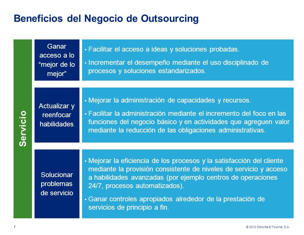© 2010 Deloitte & Touche, S.A. Beneficios del Negocio de Outsourcing 7 Ganar acceso a lo mejor de lo mejor Facilitar el acceso a ideas y soluciones pr
