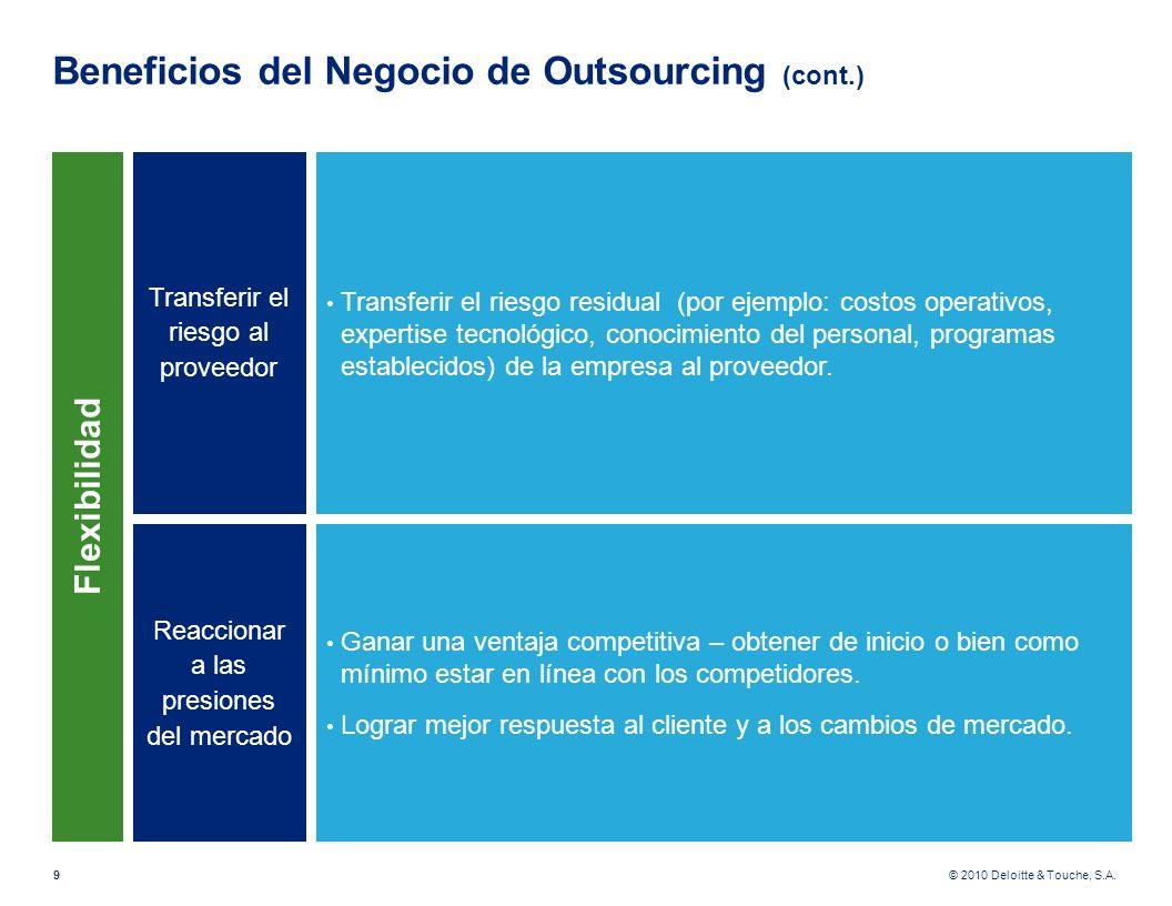 © 2010 Deloitte & Touche, S.A. Beneficios del Negocio de Outsourcing (cont.) 9 Transferir el riesgo al proveedor Transferir el riesgo residual (por ej