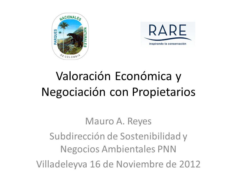 Valoración Económica y Negociación con Propietarios Mauro A. Reyes Subdirección de Sostenibilidad y Negocios Ambientales PNN Villadeleyva 16 de Noviem