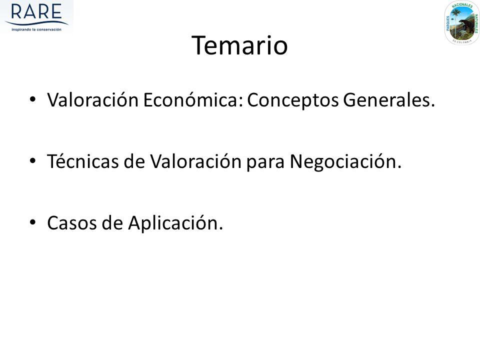 Temario Valoración Económica: Conceptos Generales. Técnicas de Valoración para Negociación. Casos de Aplicación.