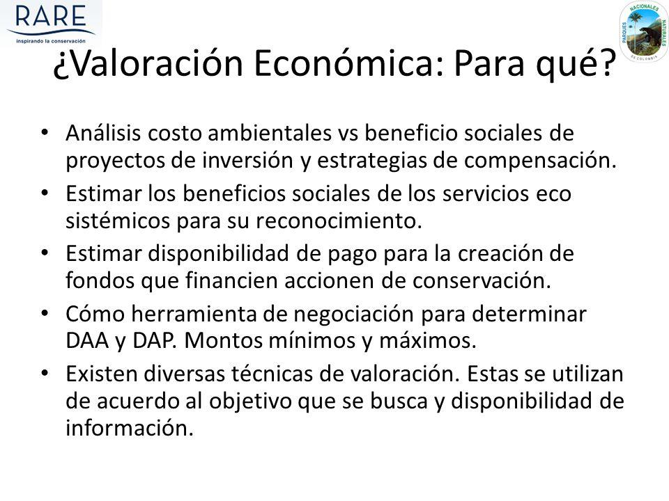 Análisis costo ambientales vs beneficio sociales de proyectos de inversión y estrategias de compensación. Estimar los beneficios sociales de los servi
