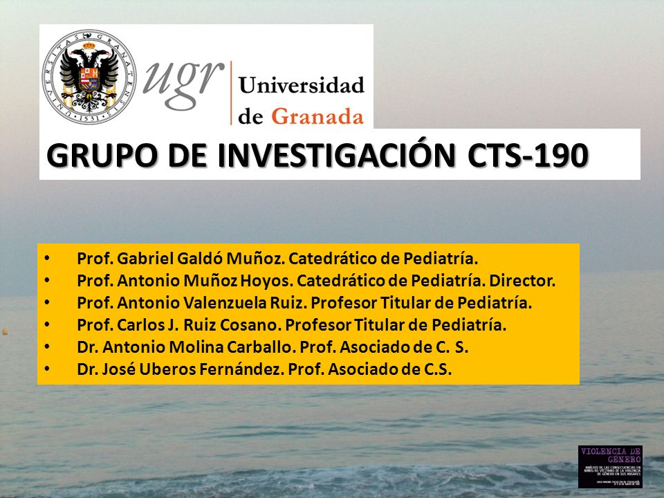 GRUPO DE INVESTIGACIÓN CTS-190 Prof. Gabriel Galdó Muñoz. Catedrático de Pediatría. Prof. Antonio Muñoz Hoyos. Catedrático de Pediatría. Director. Pro