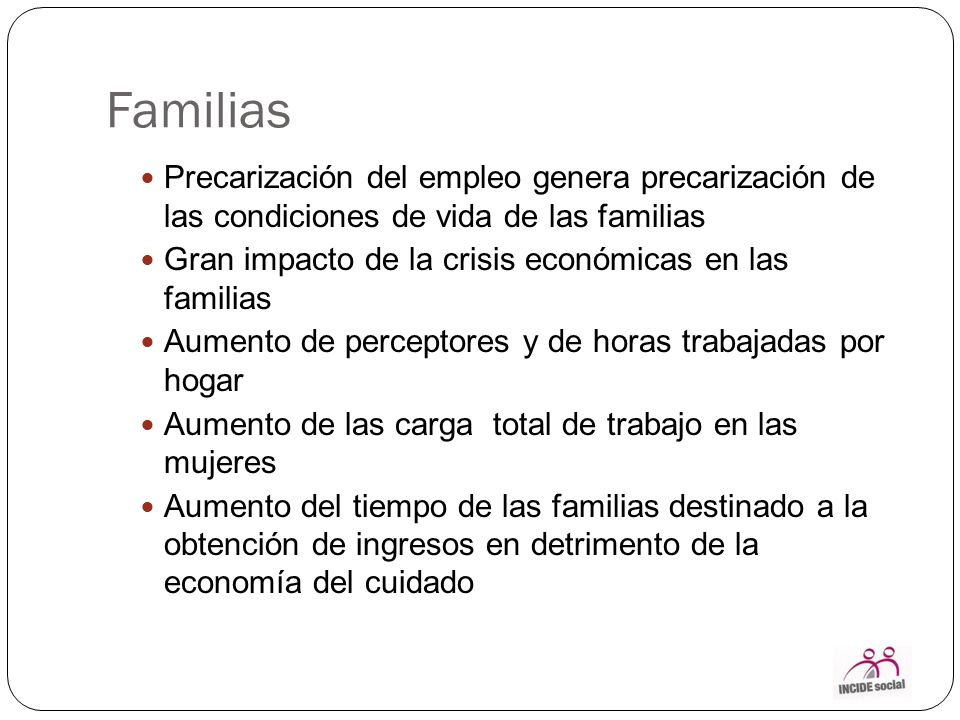 Familias Cambio en la conformación de las familias (monoparentales, dona, unipersonales, extensas no parentales) Desplazamiento de los hogares a nuevas zonas de viviendas alejadas.