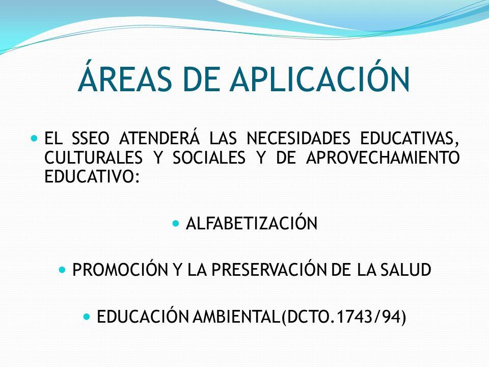 ÁREAS DE APLICACIÓN EL SSEO ATENDERÁ LAS NECESIDADES EDUCATIVAS, CULTURALES Y SOCIALES Y DE APROVECHAMIENTO EDUCATIVO: ALFABETIZACIÓN PROMOCIÓN Y LA P