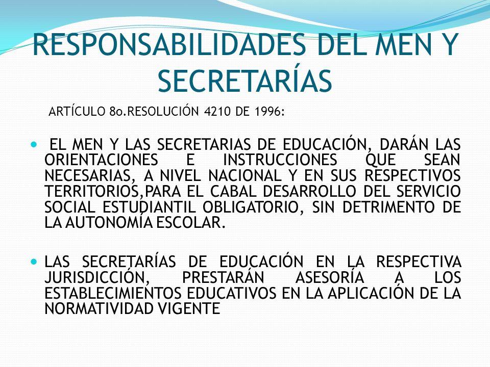 RESPONSABILIDADES DEL MEN Y SECRETARÍAS ARTÍCULO 8o.RESOLUCIÓN 4210 DE 1996: EL MEN Y LAS SECRETARIAS DE EDUCACIÓN, DARÁN LAS ORIENTACIONES E INSTRUCC