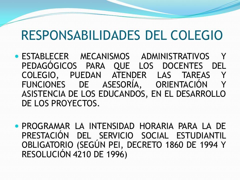 RESPONSABILIDADES DEL COLEGIO ESTABLECER MECANISMOS ADMINISTRATIVOS Y PEDAGÓGICOS PARA QUE LOS DOCENTES DEL COLEGIO, PUEDAN ATENDER LAS TAREAS Y FUNCI