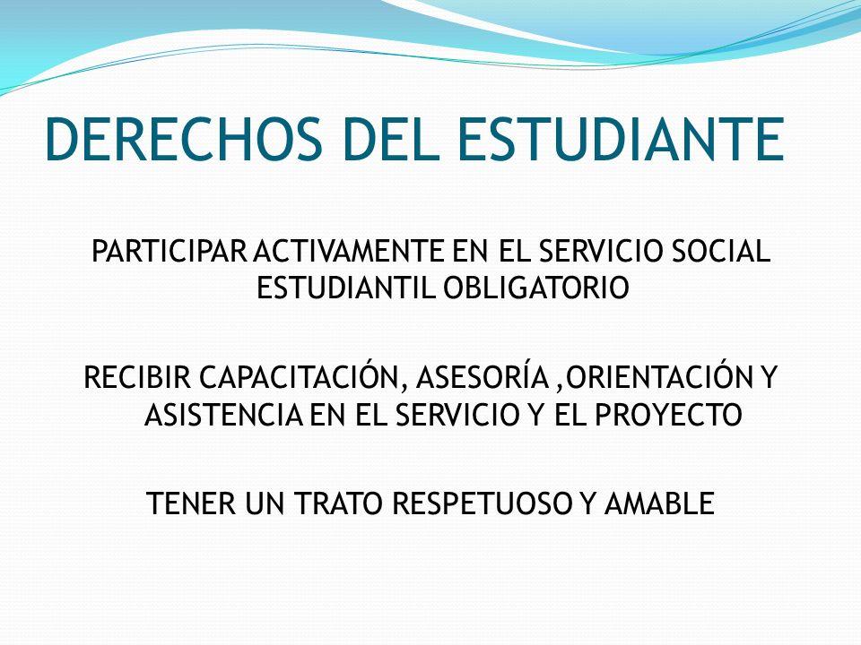 DERECHOS DEL ESTUDIANTE PARTICIPAR ACTIVAMENTE EN EL SERVICIO SOCIAL ESTUDIANTIL OBLIGATORIO RECIBIR CAPACITACIÓN, ASESORÍA,ORIENTACIÓN Y ASISTENCIA E