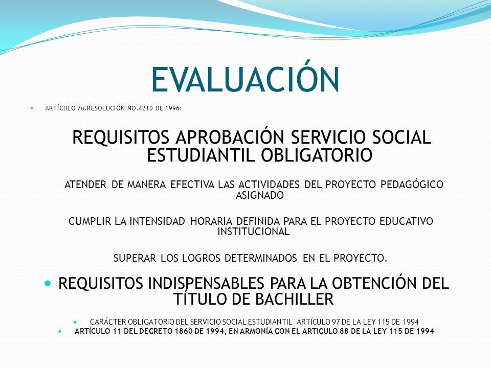 EVALUACIÓN ARTÍCULO 7o.RESOLUCIÓN NO.4210 DE 1996: REQUISITOS APROBACIÓN SERVICIO SOCIAL ESTUDIANTIL OBLIGATORIO ATENDER DE MANERA EFECTIVA LAS ACTIVI