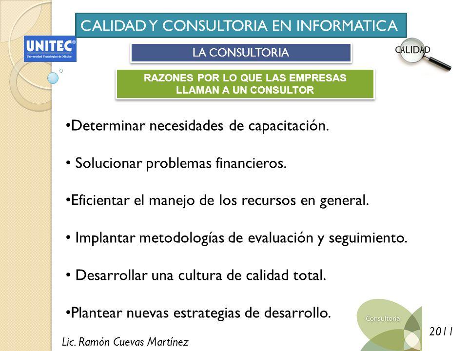 Lic. Ramón Cuevas Martínez 2011 CALIDAD Y CONSULTORIA EN INFORMATICA LA CONSULTORIA RAZONES POR LO QUE LAS EMPRESAS LLAMAN A UN CONSULTOR Determinar n