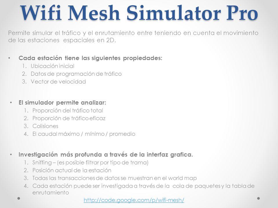 Wifi Mesh Simulator Pro Permite simular el tráfico y el enrutamiento entre teniendo en cuenta el movimiento de las estaciones espaciales en 2D. Cada e