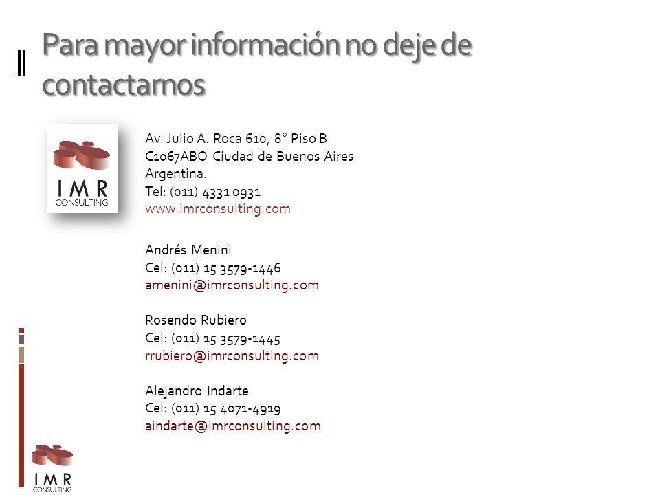 Para mayor información no deje de contactarnos Av. Julio A. Roca 610, 8° Piso B C1067ABO Ciudad de Buenos Aires Argentina. Tel: (011) 4331 0931 www.im