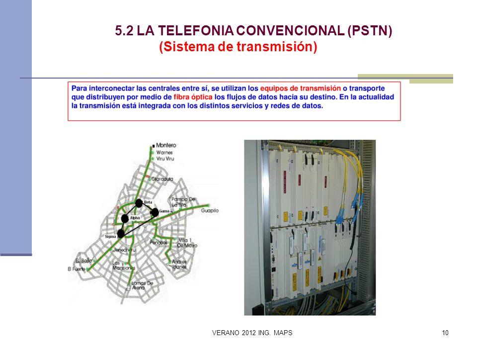 5.2 LA TELEFONIA CONVENCIONAL (PSTN) (Sistema de transmisión) VERANO 2012 ING. MAPS10
