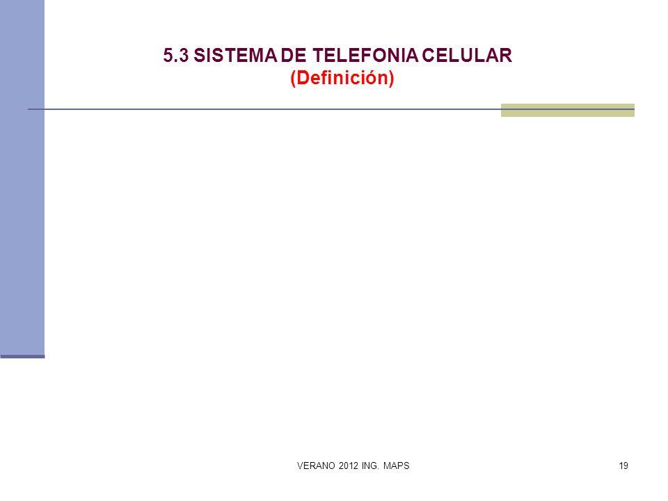 5.3 SISTEMA DE TELEFONIA CELULAR (Definición) VERANO 2012 ING. MAPS19
