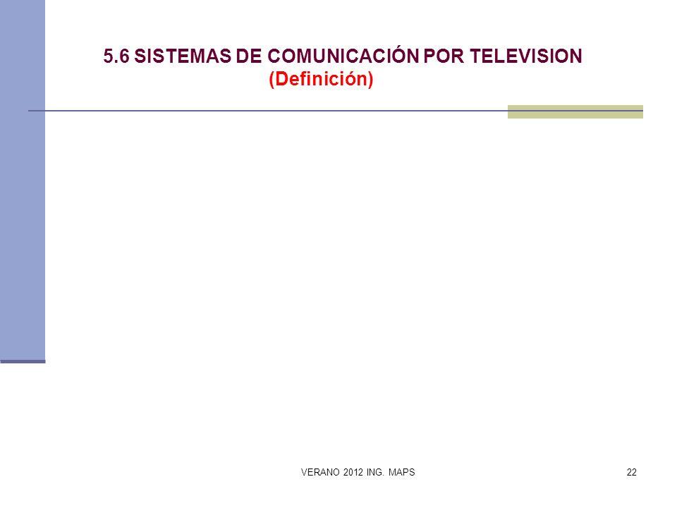 5.6 SISTEMAS DE COMUNICACIÓN POR TELEVISION (Definición) VERANO 2012 ING. MAPS22