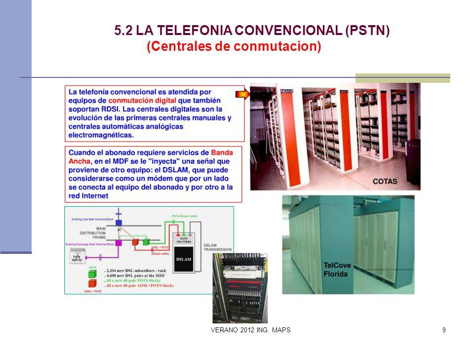 5.2 LA TELEFONIA CONVENCIONAL (PSTN) (Centrales de conmutacion) VERANO 2012 ING. MAPS9