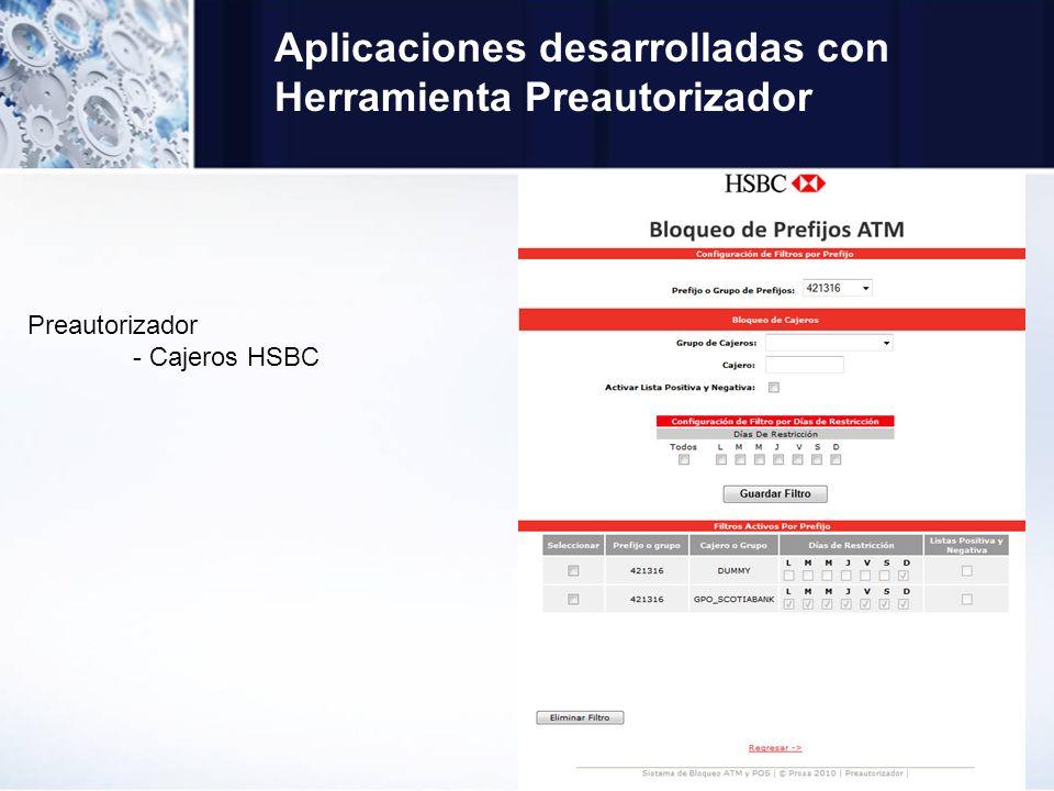 Aplicaciones desarrolladas con Herramienta Preautorizador Preautorizador - Cajeros HSBC