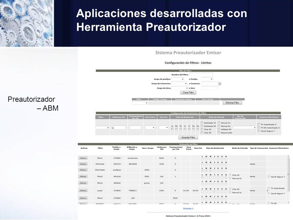 Aplicaciones desarrolladas con Herramienta Preautorizador Preautorizador – ABM