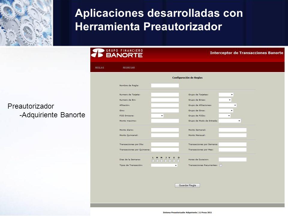 Aplicaciones desarrolladas con Herramienta Preautorizador Preautorizador -Adquiriente Banorte