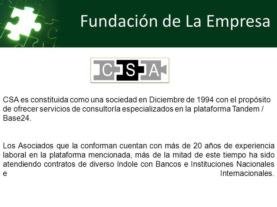Fundación de La Empresa CSA es constituida como una sociedad en Diciembre de 1994 con el propósito de ofrecer servicios de consultoría especializados en la plataforma Tandem / Base24.